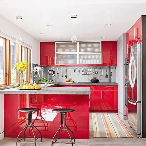 red kitchen cupboard design